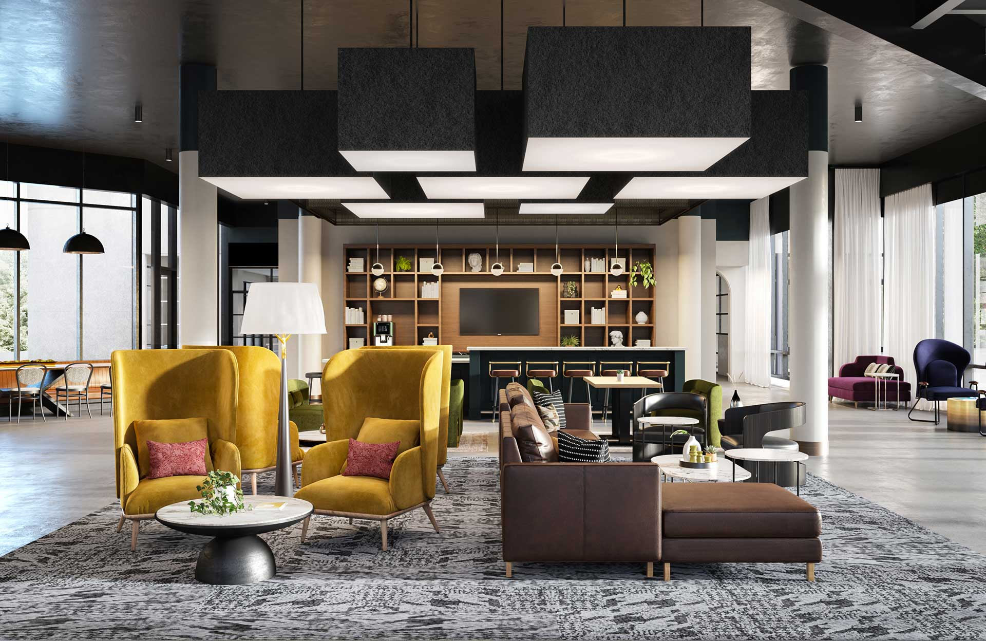 Lobby with different types of chairs