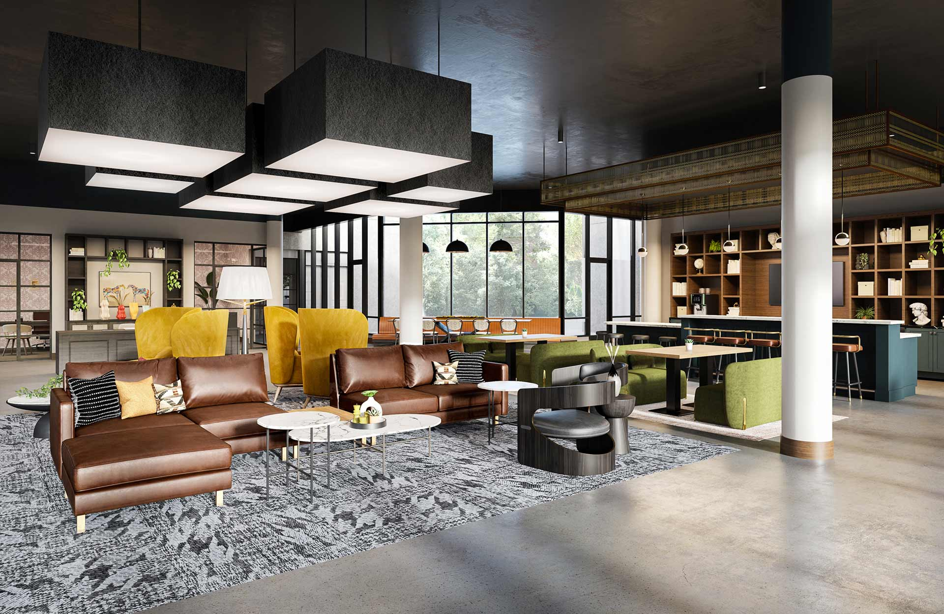 Lobby with seating, windows and ample lighting